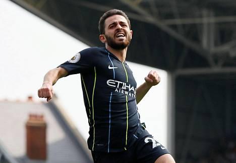 Manchester Cityn Bernardo Silva tuuletti joukkueensa ensimmäistä maalia.