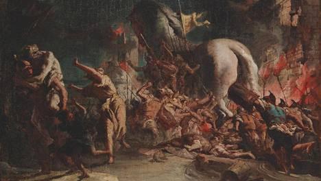 Giovanni Domenico Tiepolo: Kreikkalaiset tunkeutuvat Troijaan