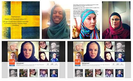 Huiviaktivistit vaativat, että Ruotsi turvaa ruotsalaisten musliminaisten turvallisuuden. Kuvakaappaus viestinpalvelu Twitteristä.