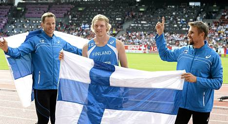 Tero Pitkämäki, Lassi Etelätalo ja Antti Ruuskanen lähtevät hakemaan kolmoisvoittoa Ruotsi-maaottelussa.