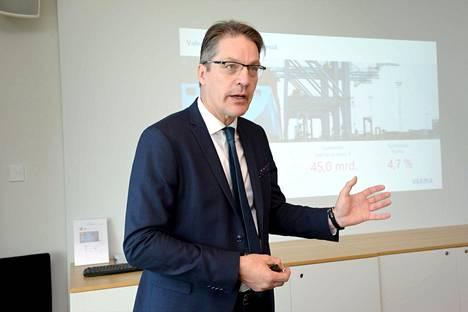 Varman toimitusjohtaja Risto Murto puhui yhtiön tiedotustilaisuudessa Helsingissä elokuussa 2017.