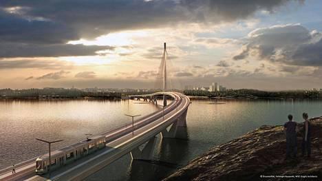 Kruunuvuorensilta on yksi hankkeen kolmesta sillasta. Havainnekuva sillasta.