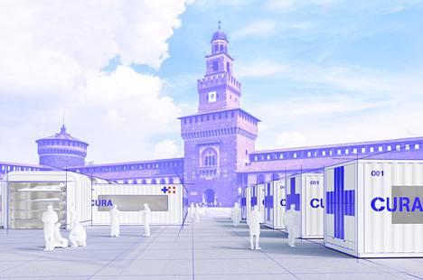 Havainnekuva italialainen arkkitehdin Carlo Rattin suunnittelemasta konttisairaalasta.