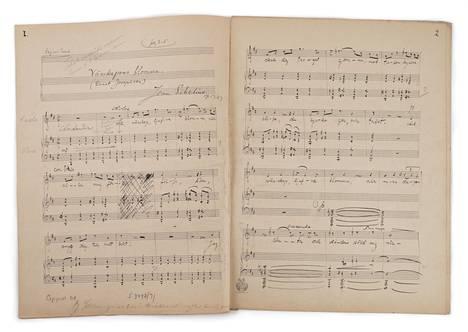 Jean Sibeliuksen Vänskapens blomma -laulun käsikirjoituksen ensimmäinen aukeama kustantamon merkinnöin.