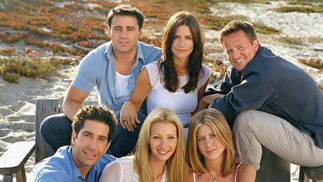 Matt LeBlanc (ylh.vas.), Courteney Cox, Matthew Perry, David Schwimmer, Lisa Kudrow ja Jennifer Aniston.