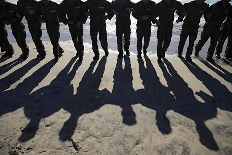 Yhdysvaltain laivaston Navy Seal -erikoisjoukkoihin pyrkivät sotilaat harjoittelivat Kaliforniassa huhtikuussa 2018.