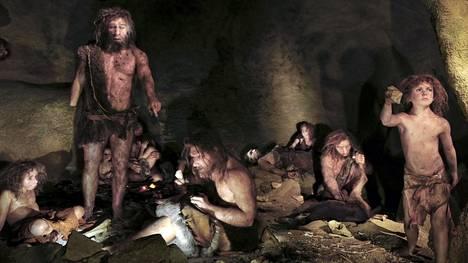 Tällaiselta saattoi näyttää neandertalinihmisten perhe. Mallinnos perustuu fossiililöytöihin