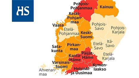 Leviämisvaiheessa olevat Helsingin ja Uudenmaan, Kymenlaakson, Päijät-Hämeen, Kanta-Hämeen ja Pohjois-Pohjanmaan sairaanhoitopiirit on merkitty karttaan punaisella. Kiihtymisvaiheessa olevat sairaanhoitopiirit ovat kartassa oranssilla.