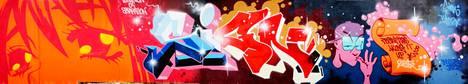 Jani Tolinin työ edustaa klassista graffitiestetiikkaa.