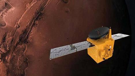 Arabiemiraattien luotain Al-Amal on jo lähellä planeetta Marsin kiertorataa. Havainnekuva.