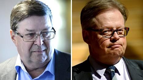 Elinkeinoelämän keskusliiton eläkkeellä oleva työmarkkinajohtaja Lasse Laatunen (vas.) ja kokoomuksen kansanedustaja Juhana Vartiainen.