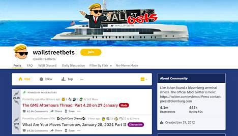 Reddit-keskustelusivuston Wallstreetbets-kanavalla on miljoonia käyttäjiä.