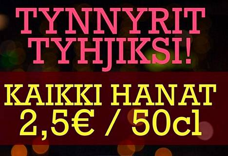 """""""Tynnyrit tyhjiksi!"""" mainoksessa kannustetaan. Kuvakaappaus Satama Bar & Bistron Facebook-sivuilta."""