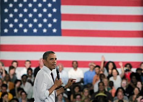 Barack Obama puhui heinäkuun puolessa välissä Cincinnatissa, Ohiossa.