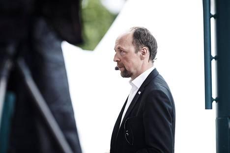 Perussuomalaisten puheenjohtaja Jussi Halla-aho Suomi-Areena-tapahtuman arvokeskustelussa Porissa 16. heinäkuuta 2019.