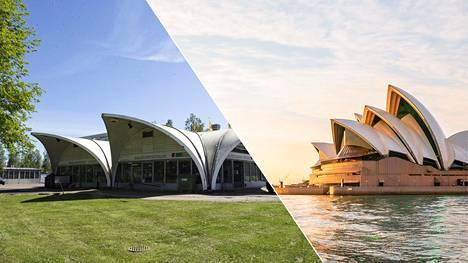 Kuin kaksi marjaa: huoltoasema Casa Finlandia Vantaan Simonkylässä ja Sydneyn oopperatalo Australiassa.