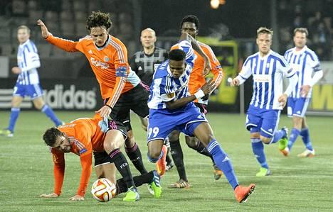Macoumba Kandji teki HJK:ssa maalin Københavnia vastaan Eurooppa-liigassa.
