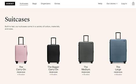 Away-laukkufirman tuotteita yhtiön internetsivulla.