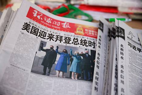 Photo of the inauguration of Joe Biden and Kamala Harris on the front page of the Global Times on January 21 in Beijing.