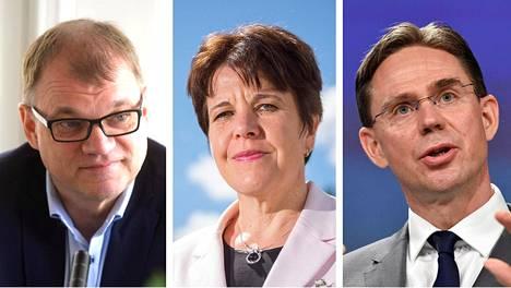 Pääministeri Juha Sipilä, Ulkopoliittisen instituutin johtaja Teija Tiilikainen ja EU-komission varapuheenjohtaja Jyrki Katainen.
