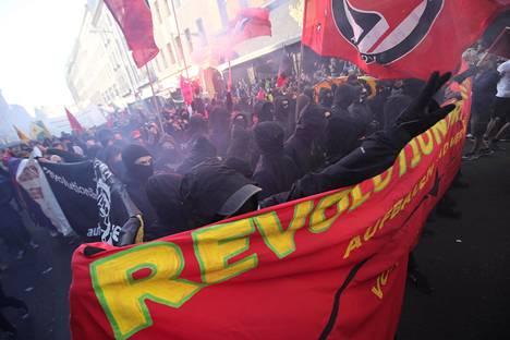 Vasemmistolaisten vapunpäivän mielenosoitus Berliinissä 2018.