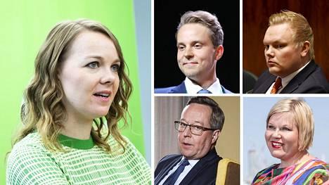 Katri Kulmunin haastajiksi keskustan puheenjohtajakilpaan voisivat nousta esimerkiksi Petri Honkonen (vas. ylh.), Antti Kurvinen, Mika Lintilä ja Annika Saarikko.