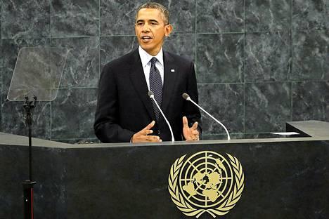 Yhdysvaltain presidentti Barack Obama puhuu YK:n yleiskokouksessa New Yorkissa tiistaina.