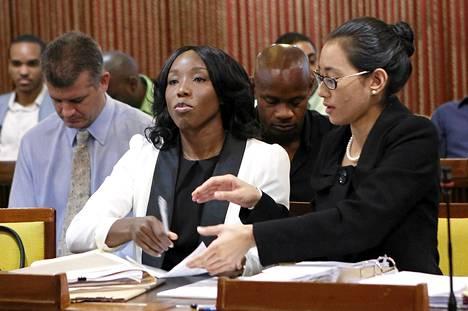 Sherone Simpson oli tiistaina dopingviranomisten kuultavana Jamaikan pääkaupungissa Kingstonissa.