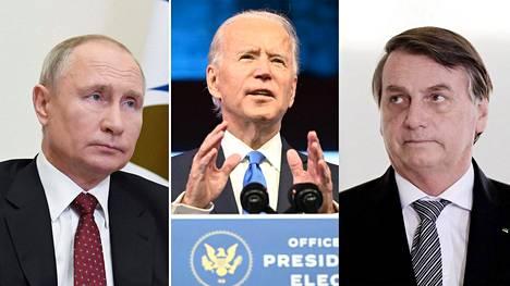 Venäjän presidentti Vladimir Putin (vas.), Yhdysvaltojen tuleva presidentti Joe Biden ja Brasilian presidentti Jair Bolsonaro.