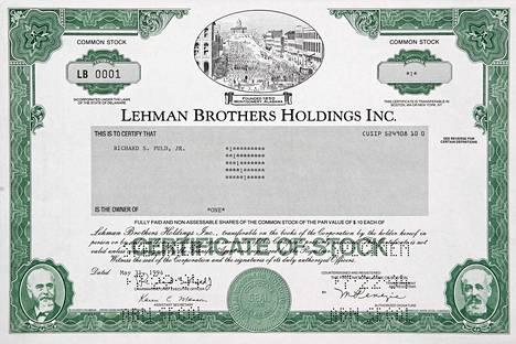 Romahtaneen sijoituspankin Lehman Brothersin osake myytiin 24000 euron hintaan Saksassa.