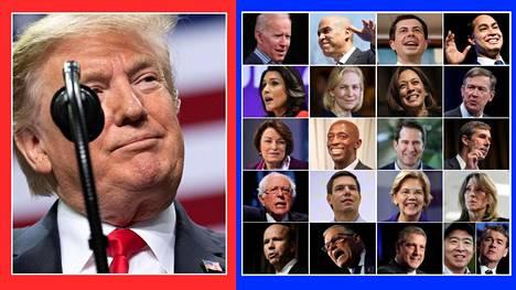 Yhdysvalloissa valmistaudutaan jo seuraaviin presidentinvaaleihin. Republikaanit valitsevat todennäköisesti Donald Trumpin (vas.) puolueen seuraavaksi presidenttiehdokkaaksi. Demokraattien presidenttiehdokkaaksi pyrkijöitä on ilmoittautunut jo 21.