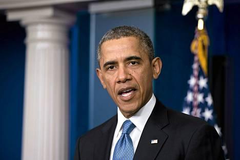 Yhdysvaltain presidentti Barack Obama puhui Ukrainan tilanteesta Valkoisessa talossa maanantaina.