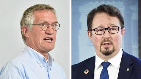 Ruotsin valtionepidemiologi Anders Tegnell ja THL:n terveysturvallisuusosaston johtaja Mika Salminen.