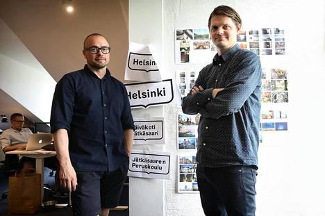 Janne Kaitala (vas.) ja Mikko Reponen uskovat, että ihmiset ottavat Helsingin uuden ilmeen vielä omakseen.