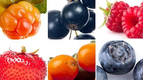 Lakka ja mustaherukka sisältävät paljon kuituja, vadelmassa ja mansikassa on folaattia, ja supermarja mustikan terveysvaikutukset perustuvat polyfenoleihin.