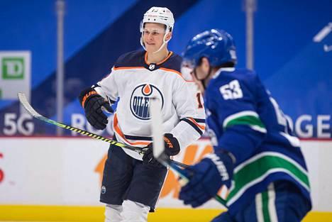 Jesse Puljujärvi oli pelipäällä Vancouveria vastaan.