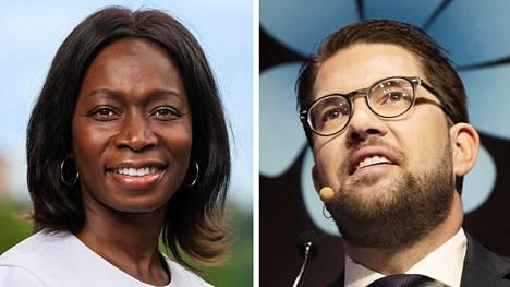 Ruotsin liberaalipuolueen puheenjohtaja Nyamko Sabuni ja ruotsidemokraattien puheenjohtaja Jimmie Åkesson