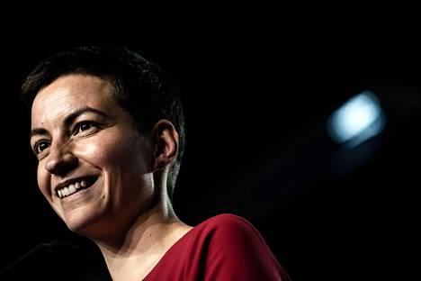 Saksalainen europarlamentaarikko Ska Keller puhui Ranskan vihreiden vaalitilaisuudessa huhtikuussa. Lauantaina hän saapuu Suomeen.