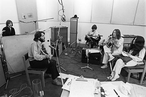 The band's recordings and filming went more smoothly in the studio made in the basement of Savile Row 3.  Photo taken on 24 January 1969.