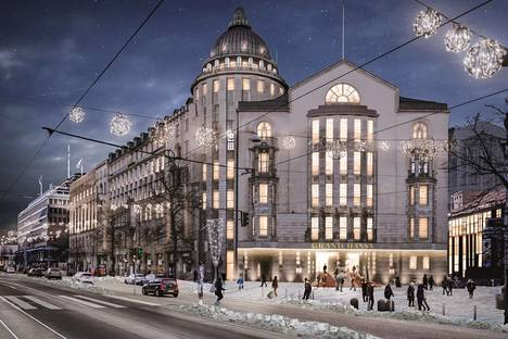 Havainnekuva Uuden ylioppilastalon rakennukseen Mannerheimintien varteen tulevasta Grand Hansa Hotelin pääsisäänkäynnistä.