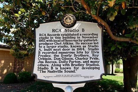 Muun muassa Elvis Presley äänitti klassikkojaan RCA Studio B:ssä, joka sijaitsee Music Row -kaupunginosassa.