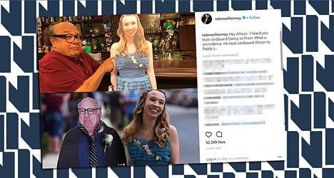 Ylhäällä: Danny DeVito (oikea) ja Allison Closs (pahvinen). Alhaalla: Danny DeVito (pahvinen) ja Allison Closs (oikea).