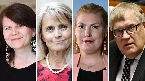 Kansanedustajat Outi Alanko-Kahiluoto (vihr), Päivi Räsänen (kd), Katja Hänninen (vas) ja Esko Kiviranta.