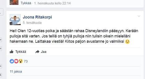 Kuvakaappaus Facebookin Myyrmäki-ryhmästä.