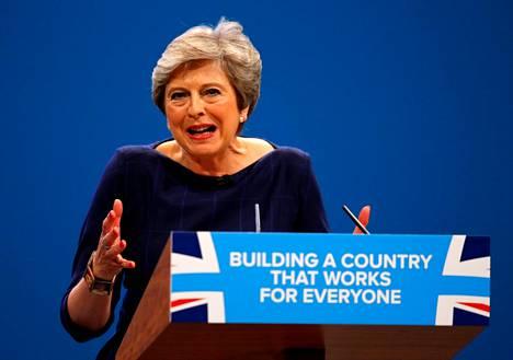 Britannian pääministeri Theresa May piti linjapuheensa konservatiivien puoluekokouksessa keskiviikkona.