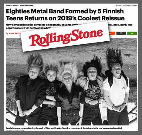 Kuvakaappaus Rolling Stonen verkkosivuilta. Yhdysvaltalaislehti ylistää Santa Lucia -yhtyeen tuotannon uudelleenjulkaisua.