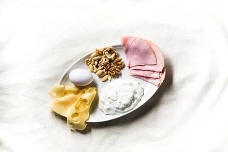 Jokainen lautasella oleva ruoka-annos (kananmuna, 40 grammaa pähkinöitä, muutama viipale juustoa tai täyslihaleikettä sekä vajaa desilitra rasvatonta maitorahkaa) sisältää noin 8 grammaa proteiinia. . Jotta ikäihminen saisi tarpeeksi proteiinia, hänen pitäisi syödä kahdeksan tällaista ruoka-annosta päivittäin.