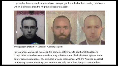 Kolme passikuvaa Marsalekin itävaltalaisista passeista. Ruutukaappaus Bellingcatin raportista.