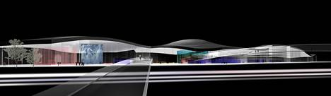 The modeling image shows the external perspective of the cultural center Moby Dick.