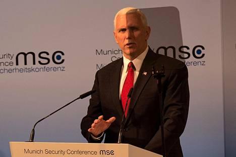 Yhdysvaltain varapresidentti Mike Pence vakuutti tukea Euroopalle lauantaina Münchenin turvallisuuskonferenssissa.